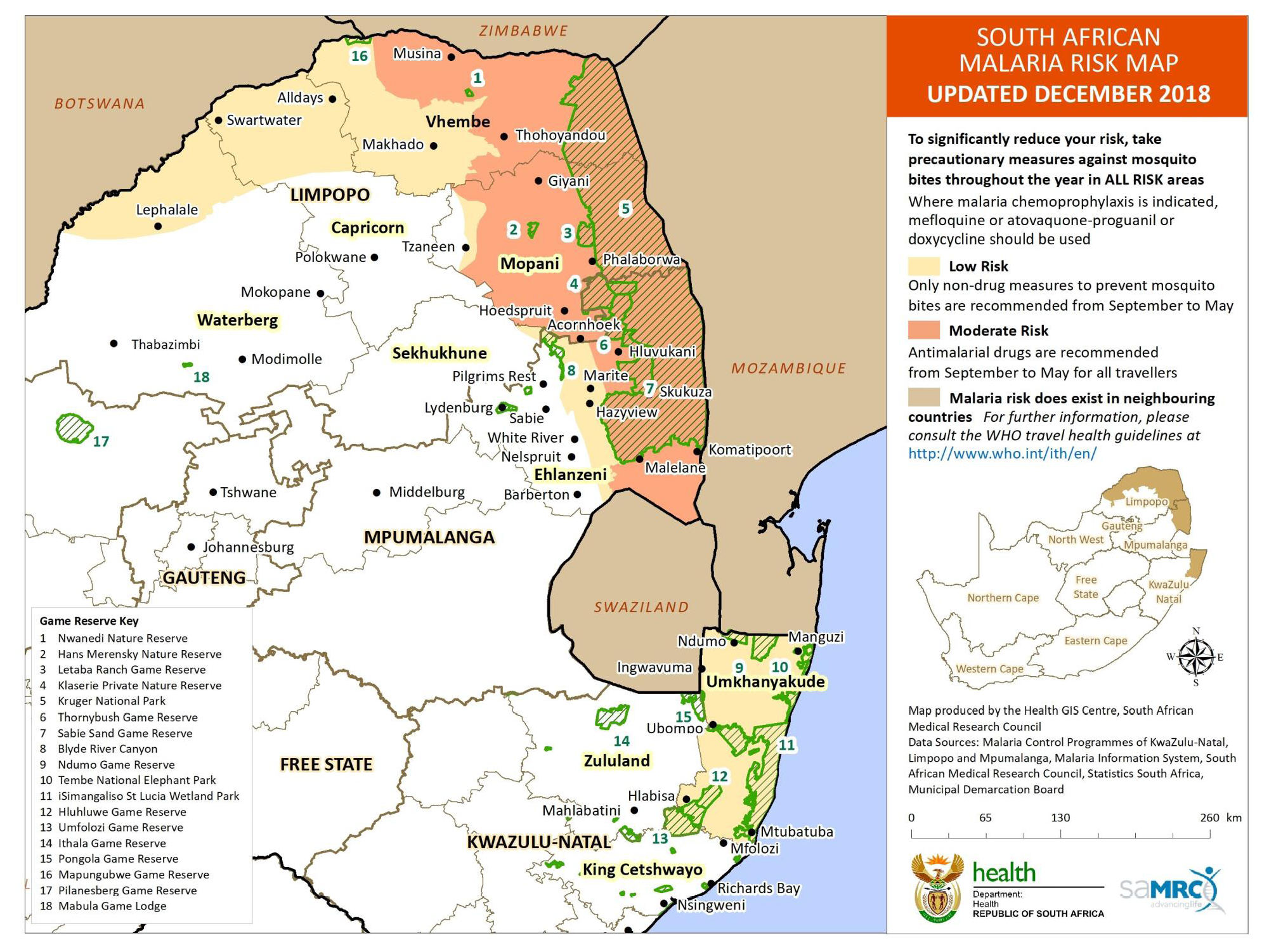 Malaria Map South Africa 2015 NaTHNaC   South Africa